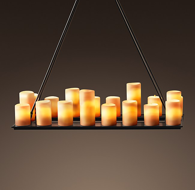 Pillar candle rectangular chandelier 39 click to zoom aloadofball Gallery