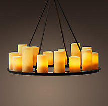 Pillar Candle Round Chandelier 32""