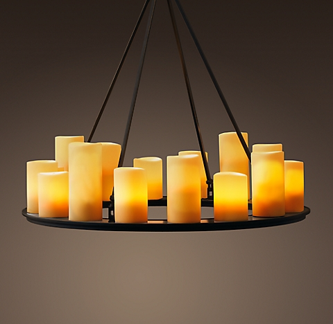 Pillar candle chandelier collection rh pillar candle round chandelier 32 mozeypictures Image collections