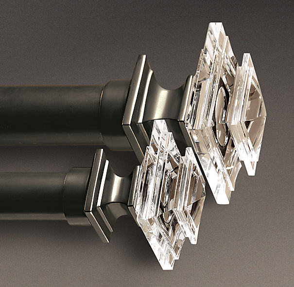 Estate Crystal Square Finials Oil Rubbed Bronze Set Of 2