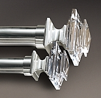 Estate Crystal Square Finials Set Of 2 Silver