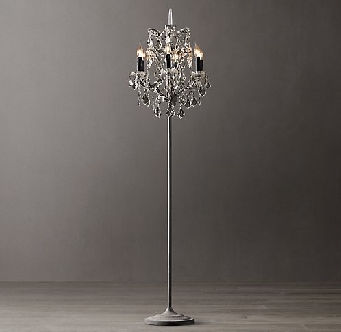 19th c rococo iron smoke crystal floor lamp