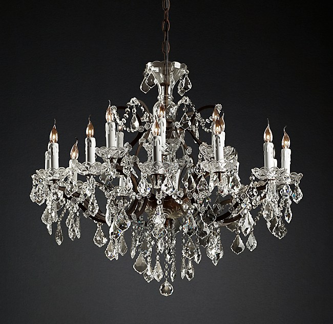 C rococo iron clear crystal round chandelier 33 19th c rococo iron clear crystal round chandelier 33 mozeypictures Choice Image