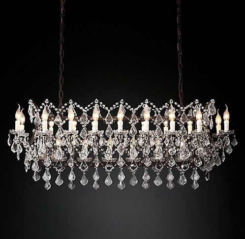 19th C Rococo Iron Clear Crystal Rectangular Chandelier 51