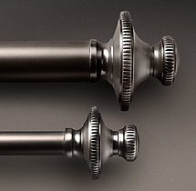 Classic Knurled Finial & Rod Set - Antique Silver