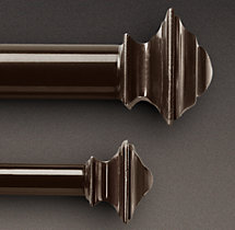 Classic Square Finial & Rod Set - Bronze