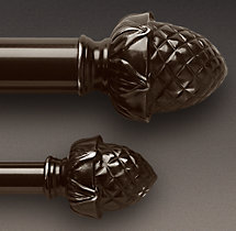 Classic Pineapple Finial & Rod Set - Bronze