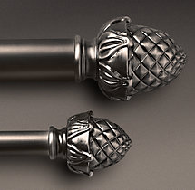Classic Pineapple Finial & Rod Set - Antique Silver