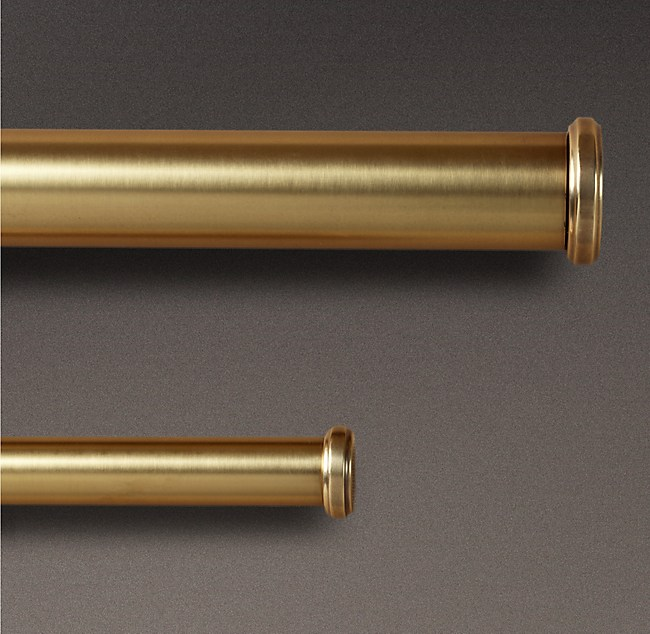 Brass End Caps & Rod Set - Antique Brass