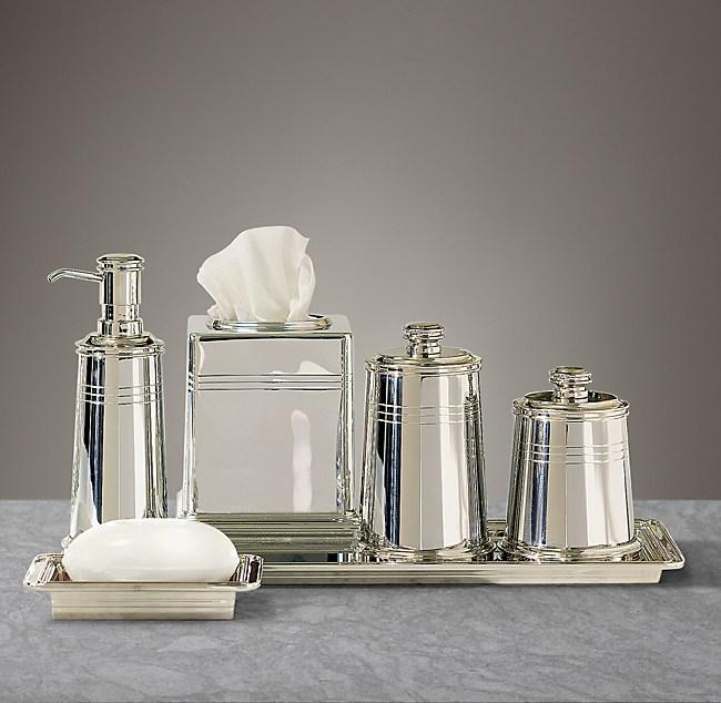Apothecary Metal Bath Accessories, Polished Nickel Bathroom Accessories