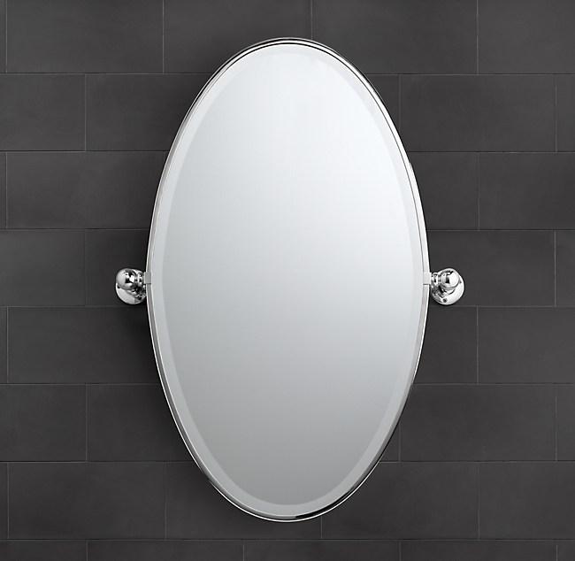Vintage Oval Pivot Mirror, Tilt Bathroom Mirror Oval