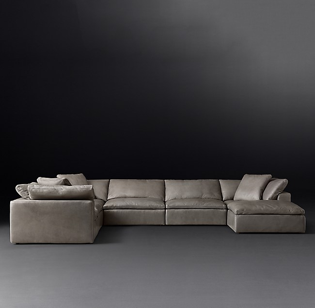 Modular Leather U Sofa Chaise Sectional