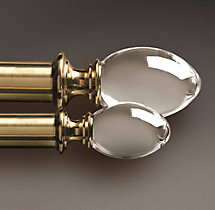 Estate Crystal Oval Finials - Brass (Set of 2)