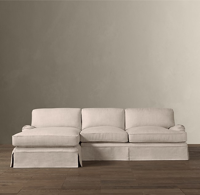 Preconfigured English Roll Arm Slipcovered Left Arm Sofa