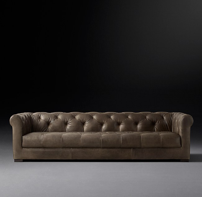 Modena Chesterfield Leather Sofa With Tufted Seat
