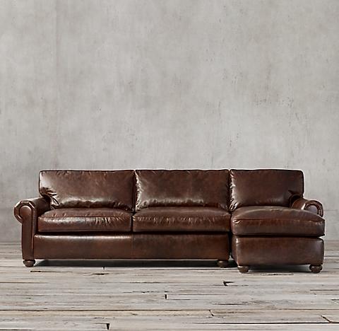 Multiple Configurations Original Lancaster Leather Sofa Chaise Sectional