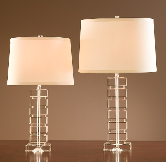 Stacked crystal block table lamp table lamp shown with a bright white silk drum shade size c shade is recommended for accent lamp and size d shade for table lamp aloadofball Images