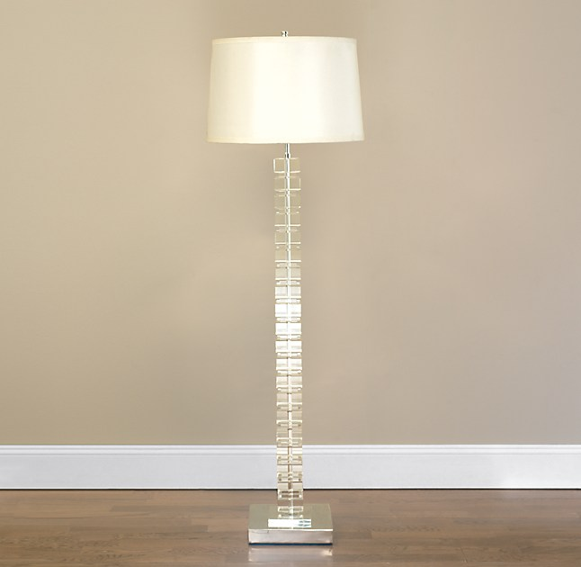 Stacked crystal block floor lamp