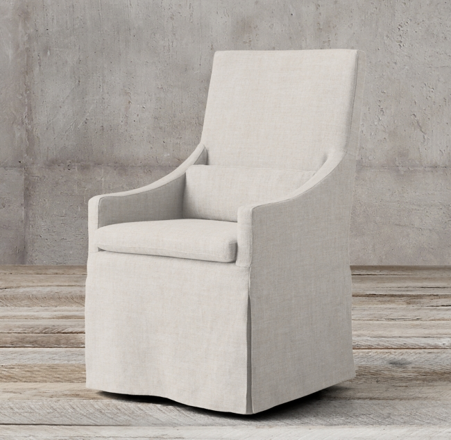 Belgian Slope Arm Slipcovered Armchair. When You Need the Perfect Linen Slipcovered Chairs & Linen Upholstered Seating...certainly a lovely collection of options indeed.