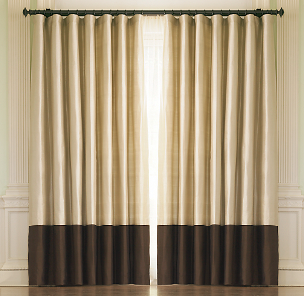 Thai Silk Coffee Banded Rod Pocket Drapes