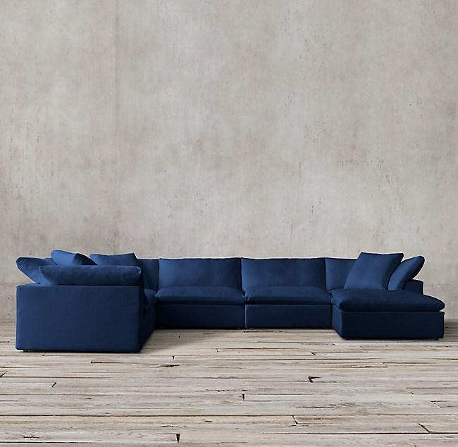 Cloud Modular Fabric U-Sofa Chaise Sectional - Navy