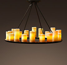 Pillar Candle Round Chandelier 40""