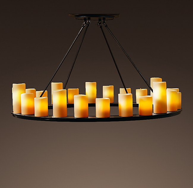 Pillar candle round chandelier 48 aloadofball Image collections
