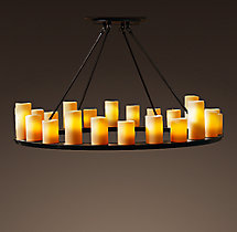 Pillar Candle Round Chandelier 48""