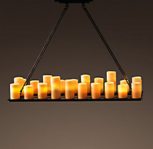 Pillar Candle Rectangular Chandelier 49""