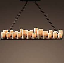 Pillar Candle Rectangular Chandelier 59""