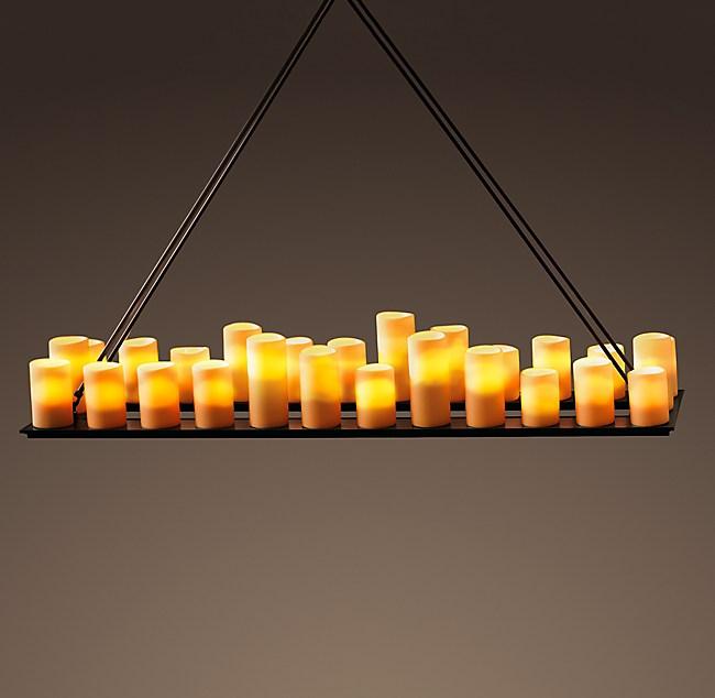 Pillar candle rectangular chandelier 59 aloadofball Image collections