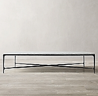 Thaddeus Forged Iron Amp Marble Rectangular Coffee Table