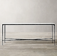 Thaddeus Forged Iron Amp Marble Rectangular Console Table