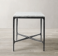 Thaddeus Forged Iron Amp Marble Square Side Table