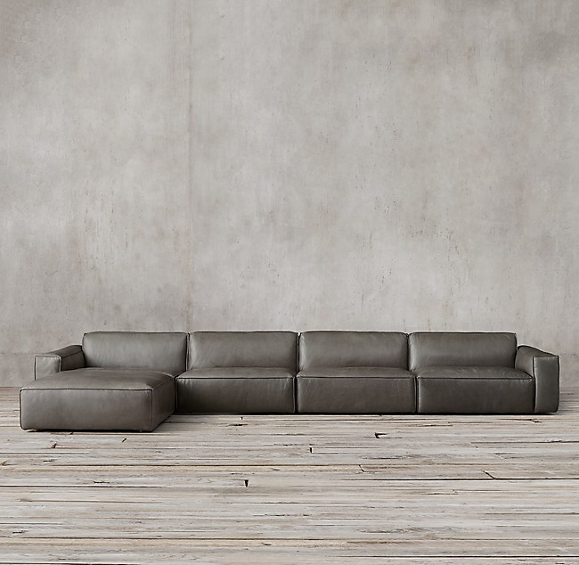 Como Modular Leather Sofa Chaise Sectional