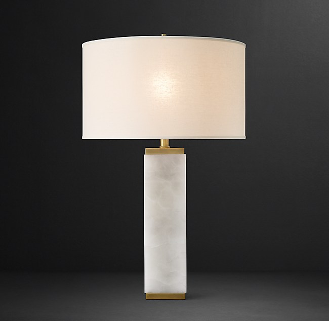 Square Column Alabaster Table Lamp