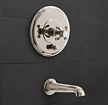 Bistro Cross-Handle Balanced Pressure Tub & Shower Valve & Trim Set with Bath Spout