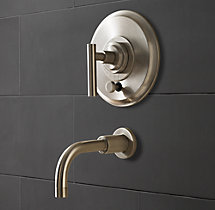Spritz Lever-Handle Balance-Pressure Tub and Shower Valve & Trim Set (Backplate; Spout)