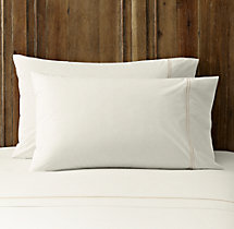 Italian Hotel Satin Stitch Ivory Pillowcases