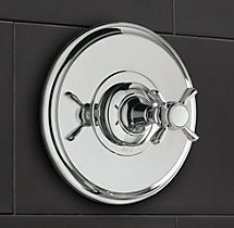 Vintage Cross-Handle Balanced Pressure Shower Valve & Trim Set with Backplate