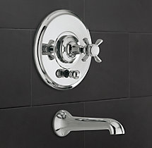 Vintage Cross-Handle Balanced Pressure Tub & Shower Valve & Trim Set with Bath Spout