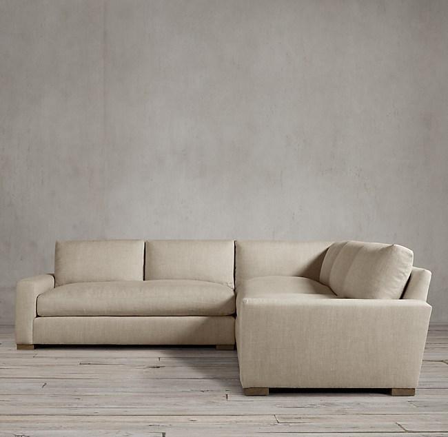 Maxwell sofa restoration hardware maxwell leather sofa for Small sectional sofa restoration hardware