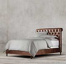 Chesterfield Leather Sleigh Bed