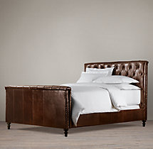 Chesterfield Leather Panel Bed With Footboard