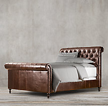 Chesterfield Leather Sleigh Bed With Footboard