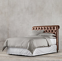 Chesterfield Leather Sleigh Headboard