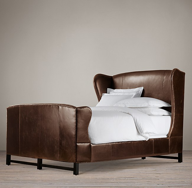 French Wing Leather Bed With Footboard