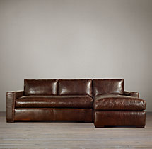 Maxwell Leather Right-Arm Chaise Sectional