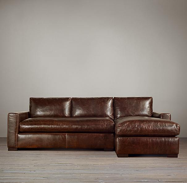 Leather Sectional Sofa Restoration Hardware: Preconfigured Maxwell Leather Right-Arm Chaise Sectional