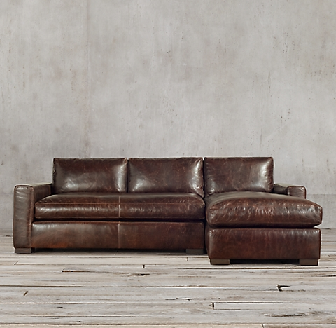 3 Depths Maxwell Leather Right Arm Sofa Chaise Sectional